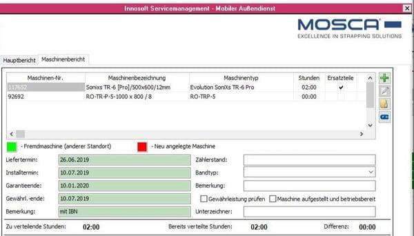 Mosca Screenshot Innosoft Service Report