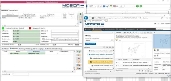 Mosca Screenshot Aufruf Ersatzteil aus Service Report