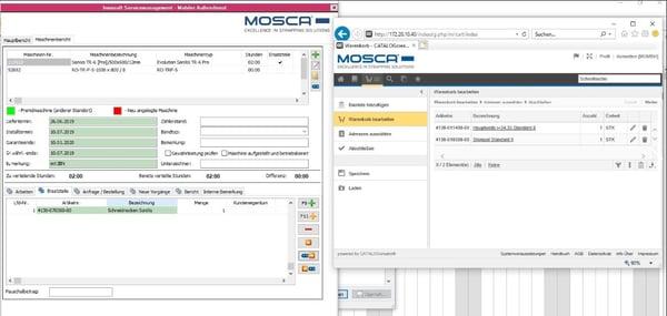 Mosca Screenshot Übernahme Artikel in Warenkorb