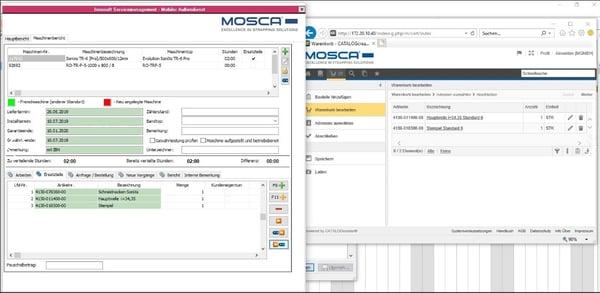 Mosca Screenshot Warenkorb an Service Report übertragen